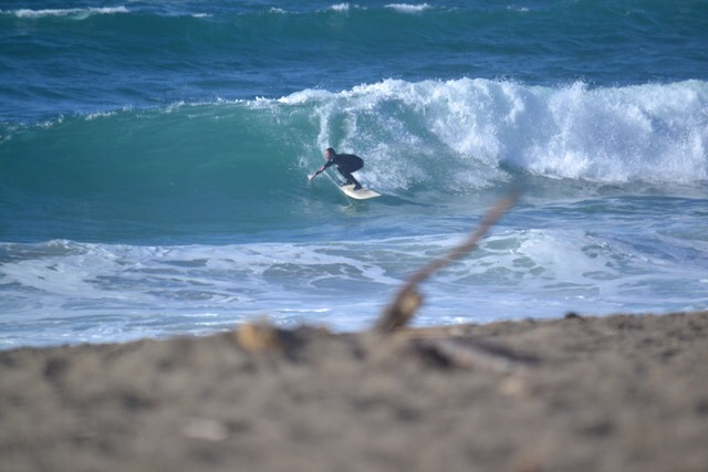 Senior Tyler Brown rips a wave at North Beach, known as a sketchy place to surf in Point Reyes, California on Feb. 17, 2018.