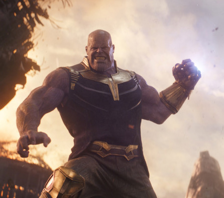 The mad titan Thanos battles the Avengers in Infinity War.