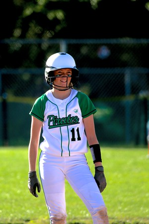 Junior Hailee Eastus after reaching the bases in league play.