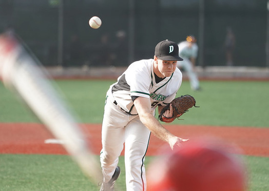 McLaughlin on the mound at home, gets the win with a score of 8-4, against Redwood High School on April 17th.