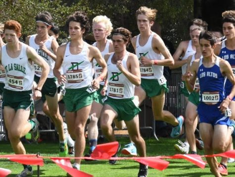 The cross country boys at the start of the Stanford Invitational. From left to right: Nicco Pompili, Owen Wolford, Amir Barkan, and Cooper McCarthy.