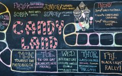 Spirit themes for Homecoming week and dance on the chalkboard outside the Student Center.