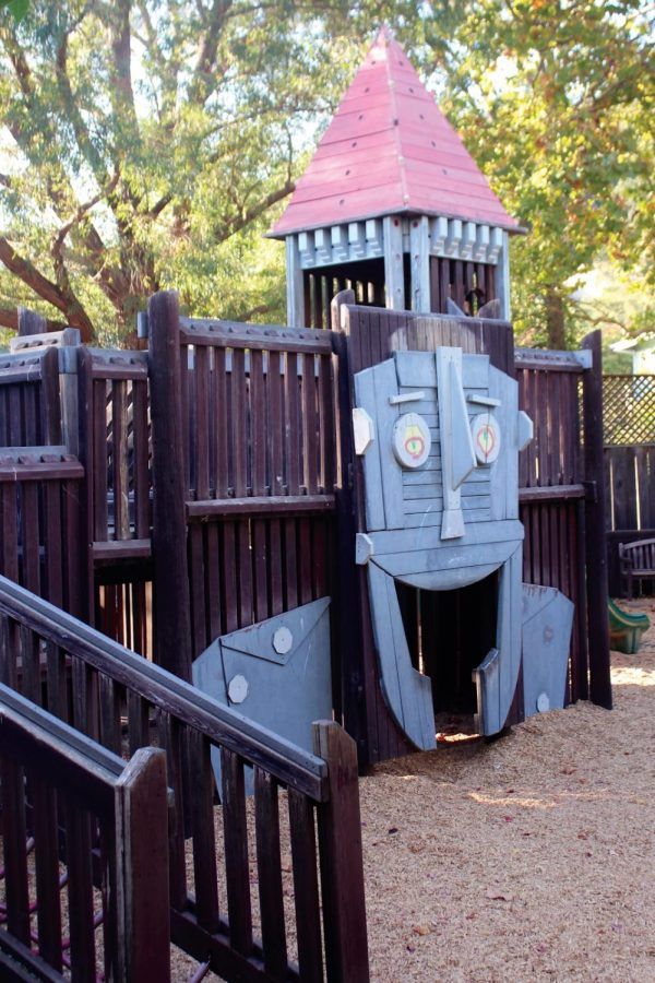 One of the wooden play structures in Memorial Park on October 17th, 2018