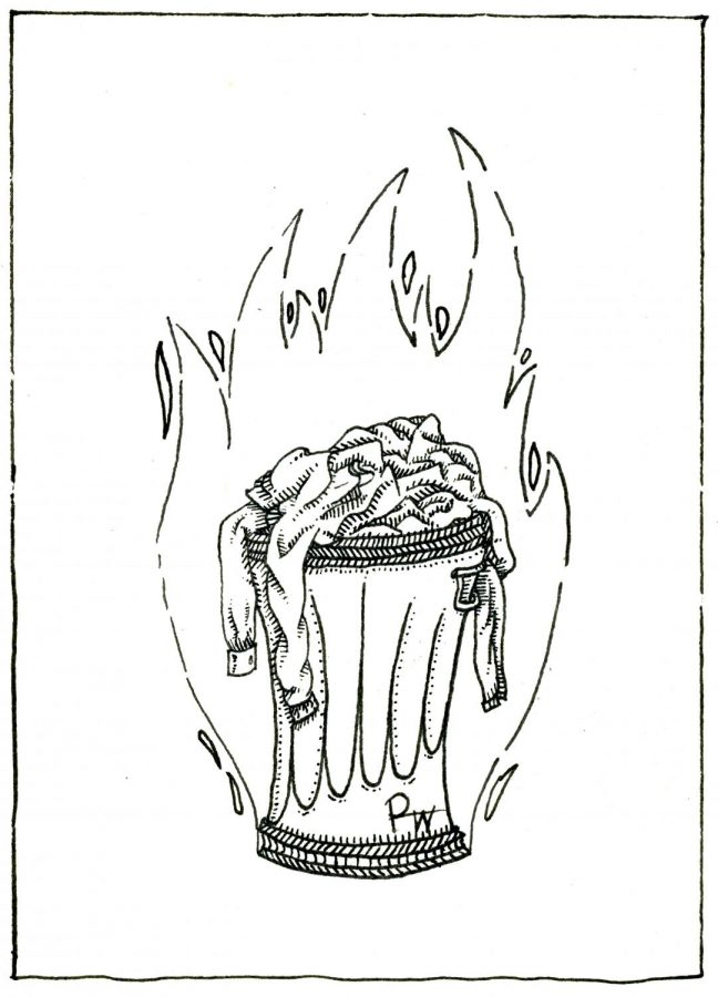 Original drawing by Pace Buchan shows a trash can of burning clothes, representing the anti-fast fashion opinion of the author