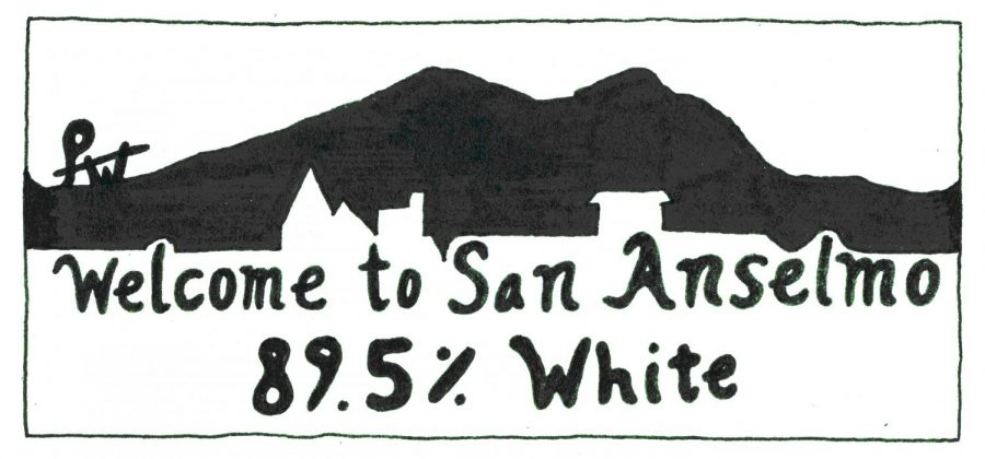 An+original+Illustration+by+Pace+Buchan+intertwines+the+towns+homey+logo+with+its+low+diversity+