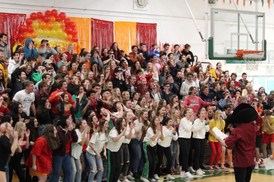 Seniors doing the pirate cheer at their last winter rally.