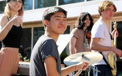 Students playing live on February Third for Jam Jam (jam) day. From left to right: Annie Smith, Aidan Ng, Josh Darr, and Stefan Werba.
