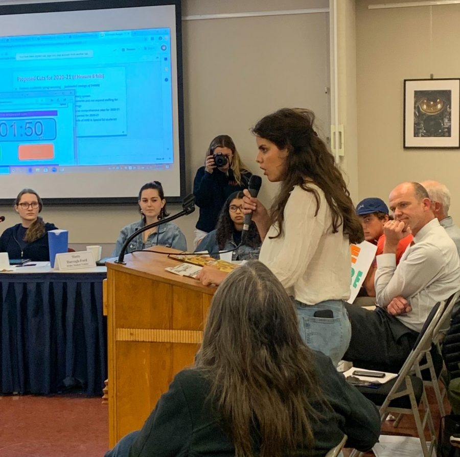 Stefanie Iojica, editor in chief of the Jolly Roger speaks at Tuesday's board meeting