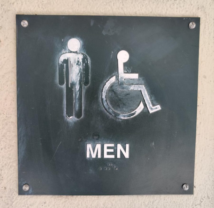 Sign outside the boys restroom.