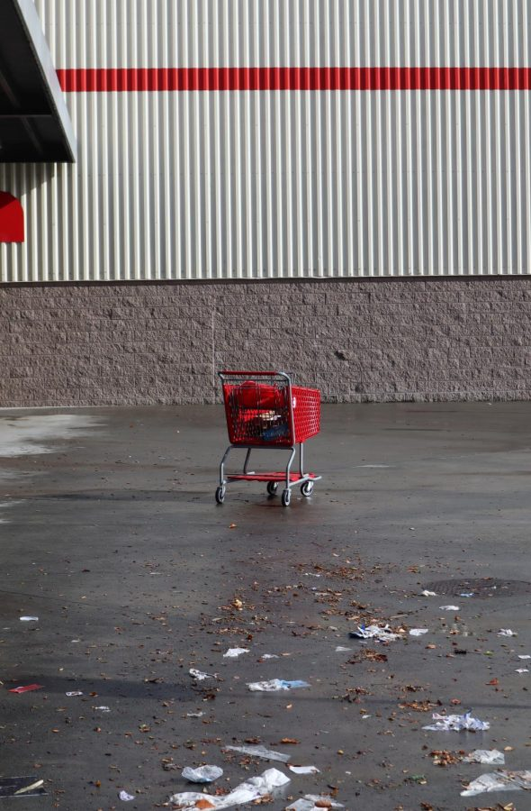 A grocery cart stands abandoned during shelter in place.
