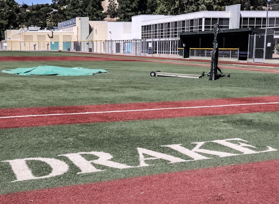 Drake Pirates logo still visible on the baseball field. Replacing Drake branding on athletic fields has been a source of backlash as is cited as a major cost in the $450,000 rebranding process. Aug. 2020