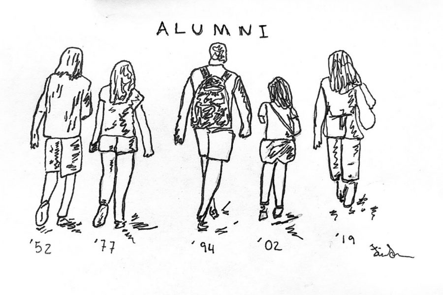 Alumni from all generations walking towards their new identities and away from the Pirates