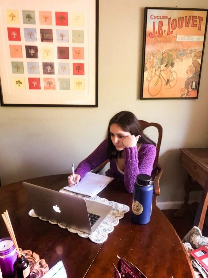 """Sophomore Nora Richard, part of SLC """"!"""" does homework for her classes after school."""