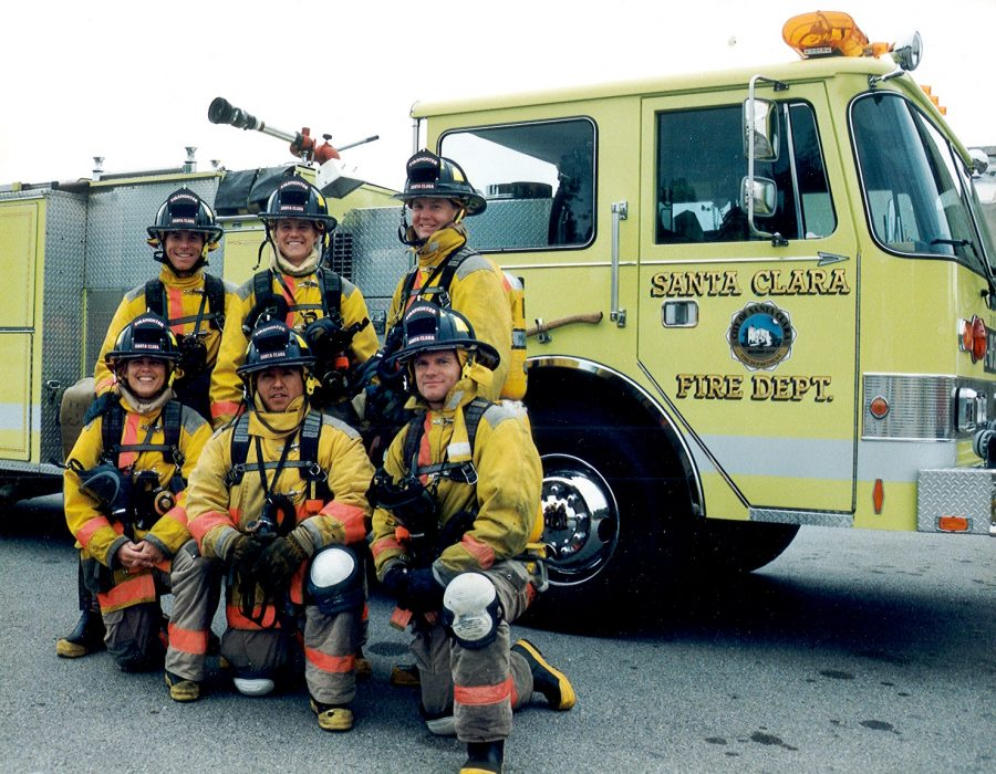 Fire Captain Jenn Panko with her friends from the academy (back row from left to right: David Hoos, Jenn Panko, JD Madden; front row from left to right: Lucy Clark, Aurelio Perez, Doug Christain) when they got hired in 1997.