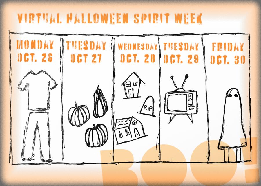 HS 1327 Halloween virtual spirit week calendar shows ASBs Halloween themed spirit week.