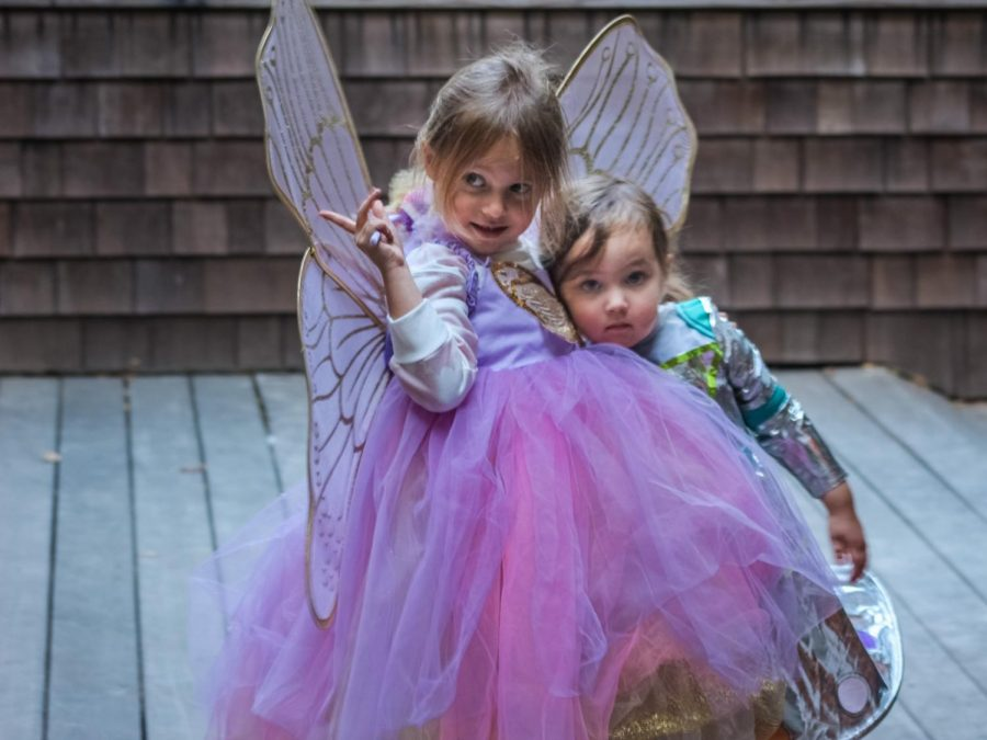 Mckenzie (age 5) and Robin Hull (age 2) showing off their Halloween costumes on their deck.