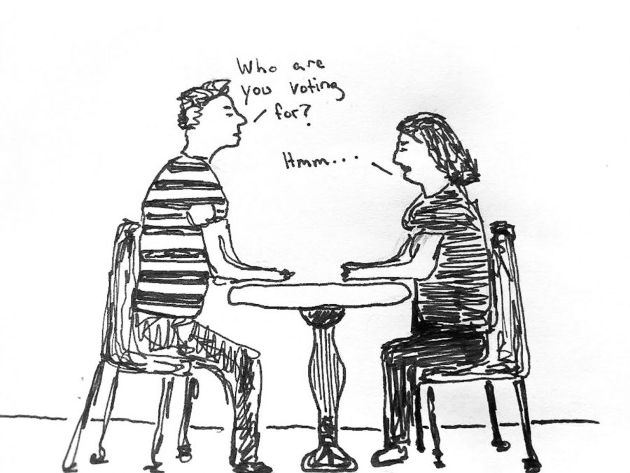 Illustration by Fiona Swan showing two first time voters conversing about the upcoming election.