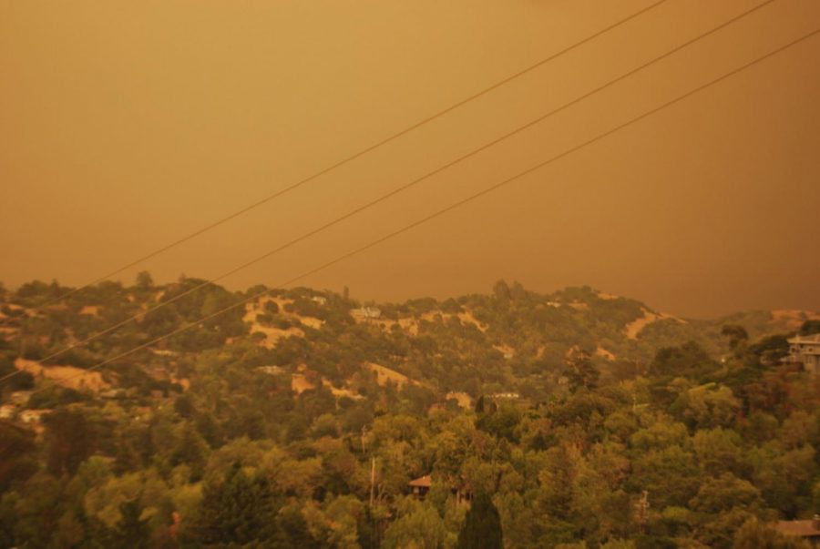 On Sept. 9, at the top of Stuyvesant Drive in Sleepy Hollow, smoke from local wildfires fills the sky.