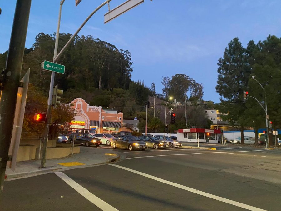 Drivers wait to head south on Sir Francis Drake Boulevard at the Hub intersection in San Anselmo Calif., on Thursday, Dec. 10, 2020