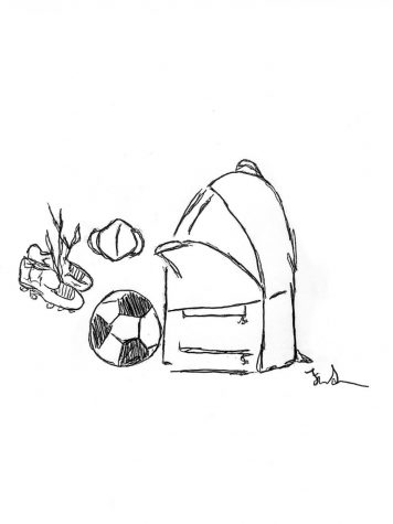 Open backpack with cleats, a soccer ball, and a mask showing the supplies needed to play soccer in the COVID-19 pandemic