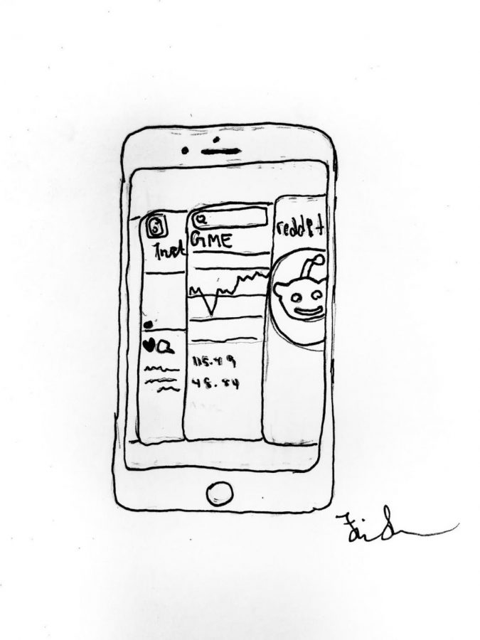 Depiction of an iPhone switching between stock market and reddit apps