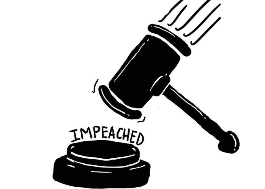 Depiction of a judges gavel coming down to an impeachment verdict.