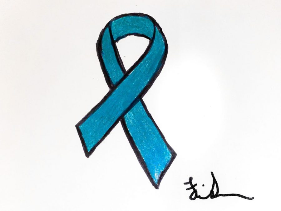 Illustration of the teal and white cervical cancer awareness ribbon