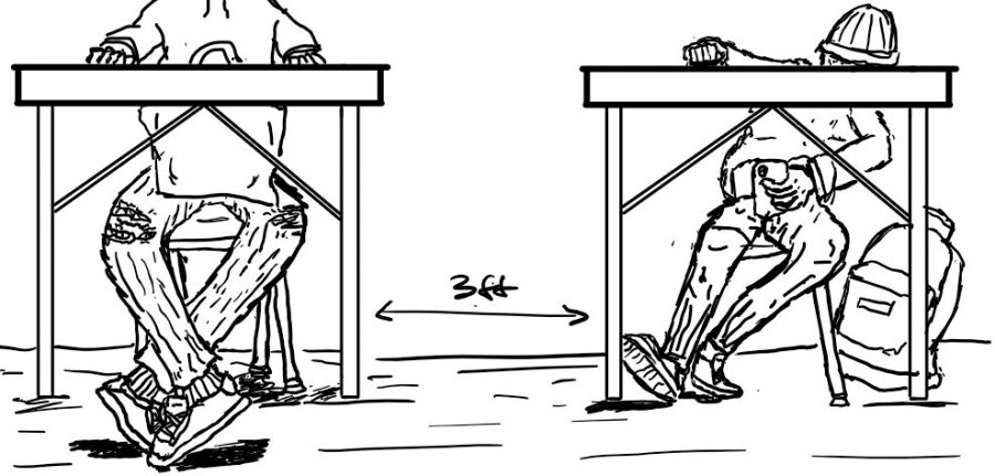 An illustration depicting the new guidelines in which students will be three feet apart.