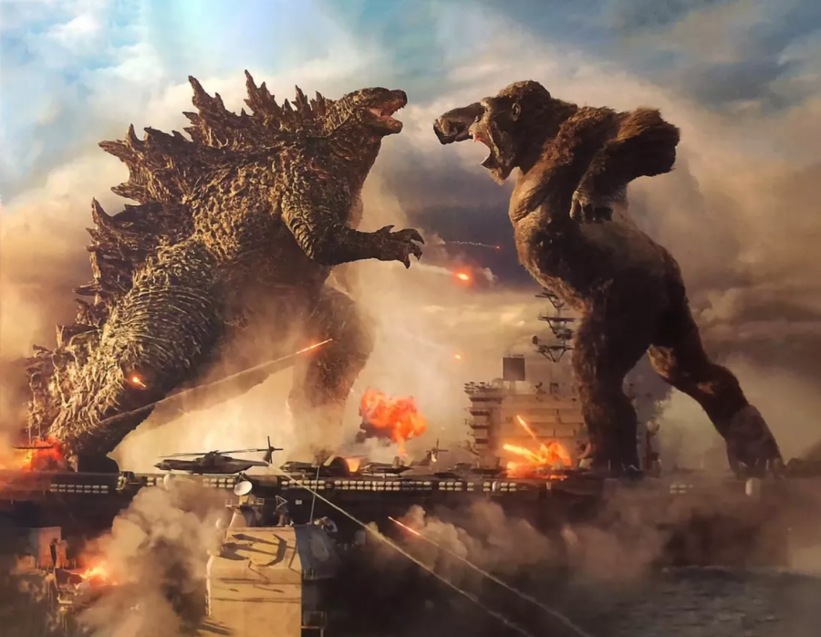 Godzilla and Kong exchange blows on the high seas while surfing naval battleships.