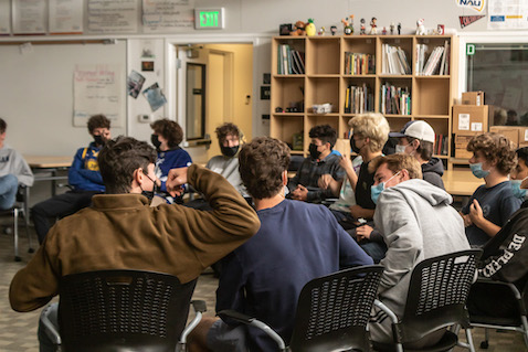 The boys settle in for a classroom practice on Thursday, Apr. 22, the day before their first game.