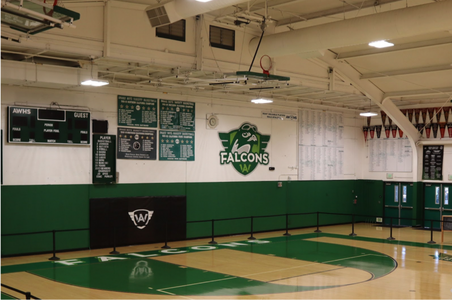 Archie Williams High School's new logo painted on the wall of the main gym and displayed to all
