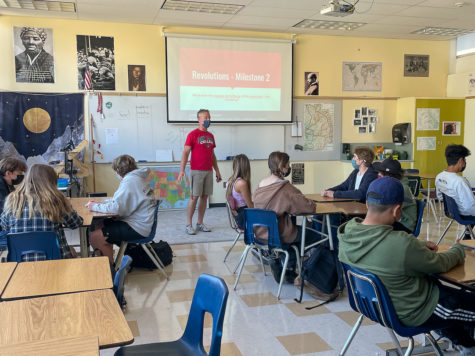 Dan Freeman teaches his 4th period World History class about revolutions.