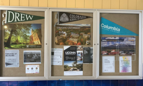 """College information posted on a bulletin board next to the """"Counseling Center."""""""