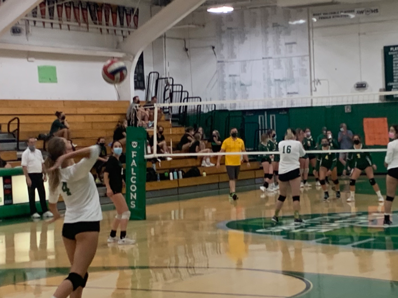 AWHS sophomore Kaila Service throwing the ball for a serve to San Marin High School.