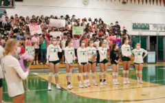 AWHS varsity girls volleyball seniors line up in front of the 'Falcon's Nest' for senior night gifts and speeches.