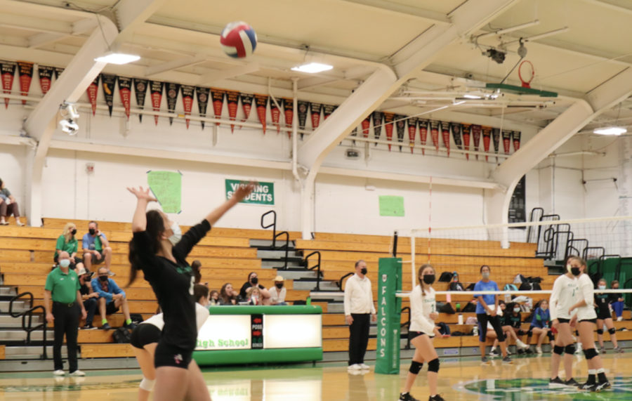 Junior varsity sophomore libero Lydia Rivera tosses the ball in the air for a serve.