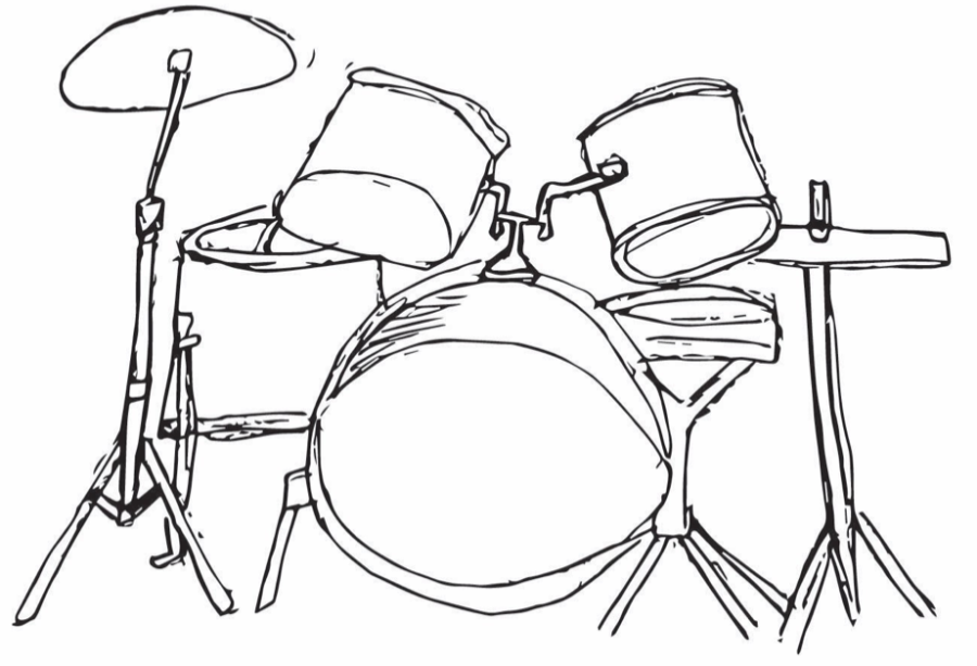 A drum set, similar to the one used by drummer Lex Razon in his performances.