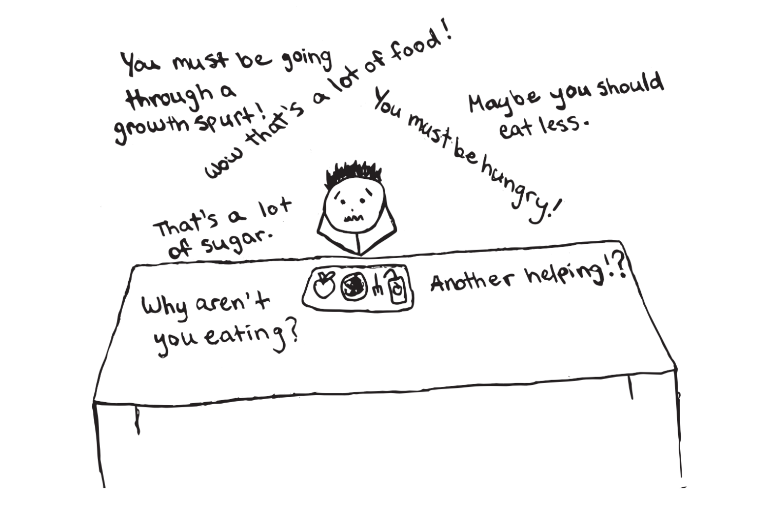 Constant jokes and questions about food creates a stressful environment for students.